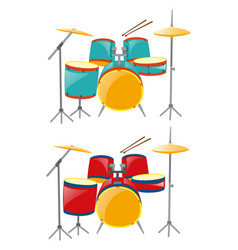 two sets of drumset in blue and red vector image vector image