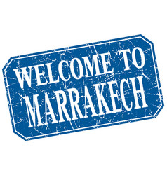 Welcome to marrakech blue square grunge stamp vector