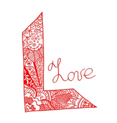Word love art stylized vector image vector image
