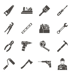 Work Tools Icon Set In Black vector image vector image