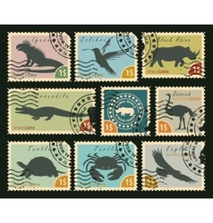 Postage stamps on the theme of wildlife vector