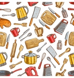 Kitchenware and dishware seamless pattern vector
