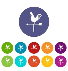 Weather vane with cock set icons vector