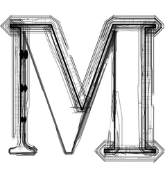 Technical typography Letter M vector image
