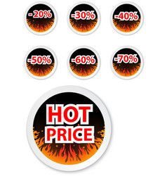 Hot price stickers with fire flame vector