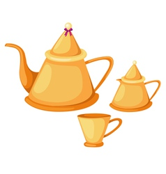 Isolated tea pot set vector