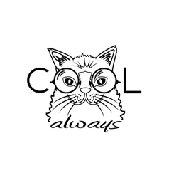 Fashion portrait of hipster cat in big glasses vector