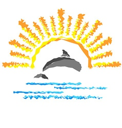 Seascape with a dolphin template logo travel vector