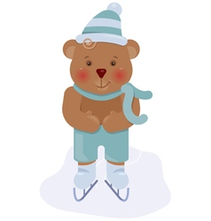 Funny bear cub skating vector image