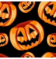 Seamless pattern with scary pumpkins vector