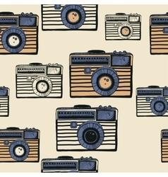 Vintage camera pattern vector image