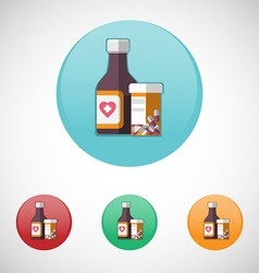 Mixture solution bottles icon set vector