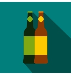 Two bottles of beer icon flat style vector