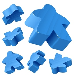 Blue wooden meeple set vector