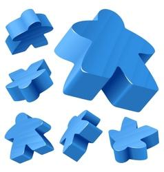 blue wooden meeple set vector image