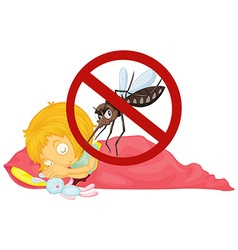 No mosquito while girl sleeping vector