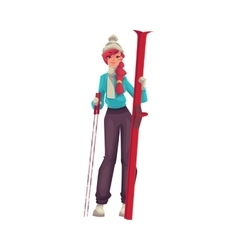 Adult red-haired beautiful woman standing with ski vector