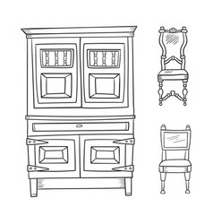 antique furniture set - closet and chairs isolated vector image vector image