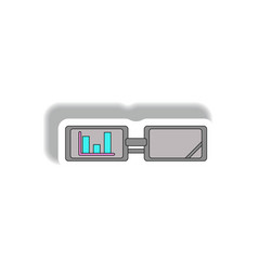 Bar graph on glasses in paper vector