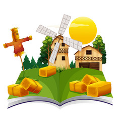 book with barn and scarecrow in the farm vector image vector image