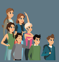 cartoon group people casual design vector image