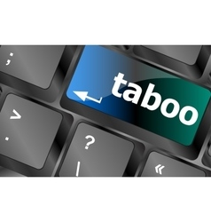 Computer keys spell out the word taboo vector