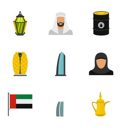 Culture features of uae icons set flat style vector