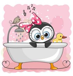 cute cartoon penguin girl in the bathroom vector image