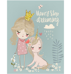 cute unicorn with princess vector image vector image