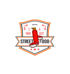fast food label of ketchup tomato sauce bottle vector image