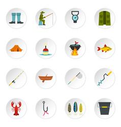 Fishing tools set flat icons vector