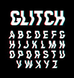 glitch font with distortion effect vector image vector image