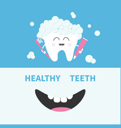 Healthy tooth holding paste and brush bubbles vector