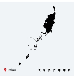 High detailed map of Palau with navigation pins vector image vector image