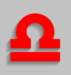 Libra sign red icon with vector