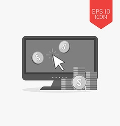 Make money online concept icon Flat design gray vector image