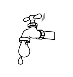 monochrome contour with watertap with drop of vector image