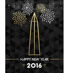 New year 2016 washington usa travel monument gold vector