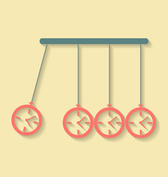 Newtons cradle concept of procrastination with vector