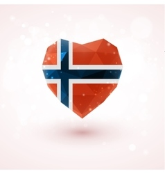Norwegian flag in shape diamond glass heart vector