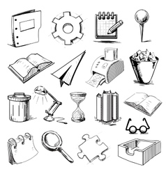Office objects collection vector image vector image