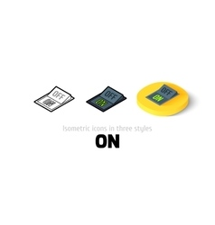 On icon in different style vector image