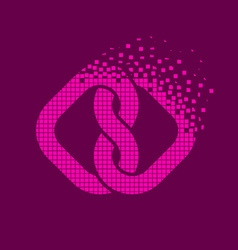 pink linked hearts flying pixel unity symbol vector image vector image