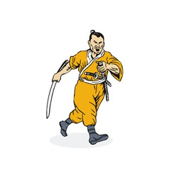 Samurai Warrior Running vector image