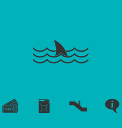 Shark icon flat vector