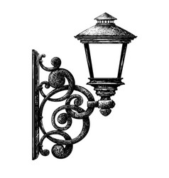 Sketch of street light vector