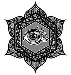 tattoo mandala with eye vector image vector image