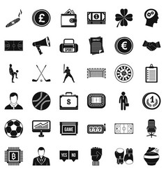 totalizator icons set simple style vector image vector image