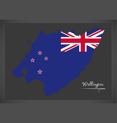 wellington new zealand map with national flag vector image
