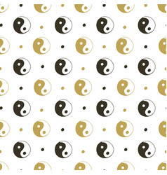 yin yang seamless background gold pattern for vector image